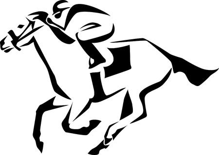 steeplechase: horse race logo Illustration