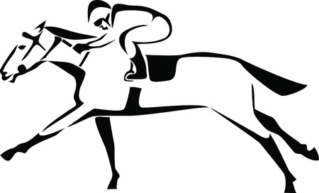 thoroughbred horse: logotipo de la carrera de caballos Vectores