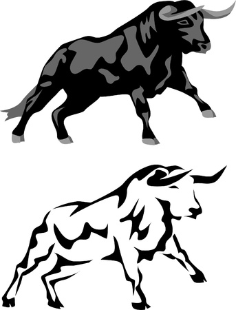 domestic cattle: attacking black bull Illustration