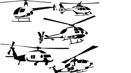 military helicopter: helicopters icons Illustration