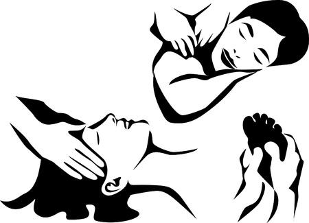 masaje: iconos de masaje