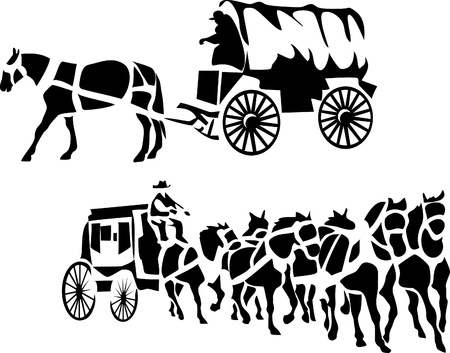 wagon wheel: stylized chuck wagon and stagecoach