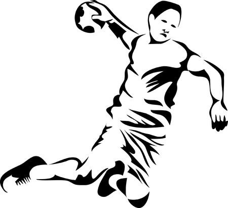 throwing ball: handball player logo