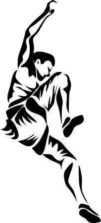 rock logo: logo escalador de roca Vectores