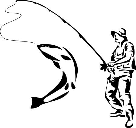 漁師のロゴ  イラスト・ベクター素材