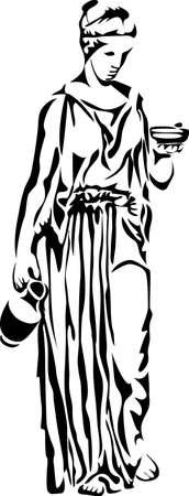 roman: antigua mujer griega con el lanzador Vectores