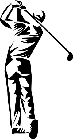 columpios: logo jugador de golf Vectores