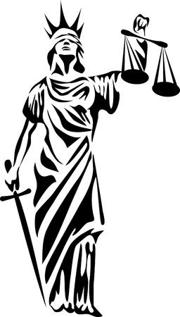 derecho romano: diosa de la justicia logo Vectores