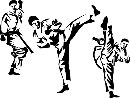 karate pose logo Vector