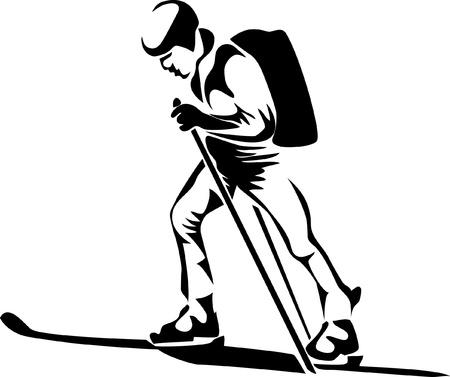 mountaineering: ski touring logo Illustration