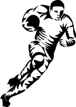 pelota de rugby: logo jugador de rugby Vectores