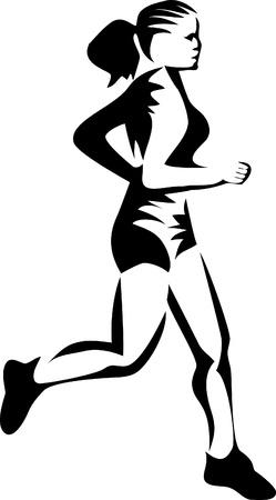 physical fitness: jogging woman logo Illustration