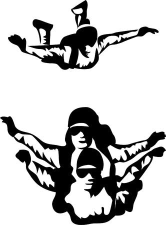parapente: parachutespringen Stock Illustratie