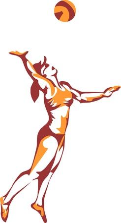 volleyball serve: beach volleyball-women-logo