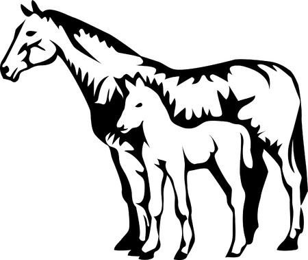 husbandry: mare with foal logo