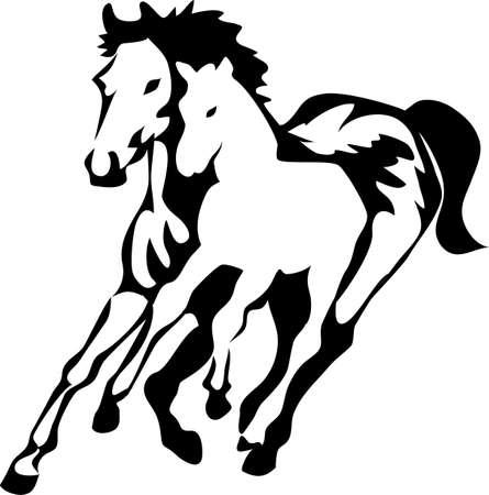 merrie: merrie met veulen logo Stock Illustratie