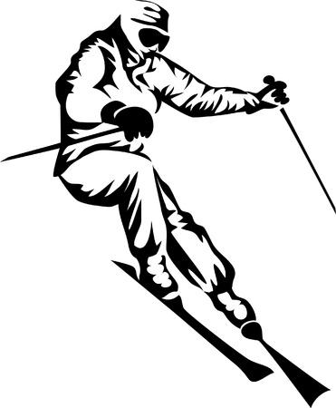skiër Stock Illustratie