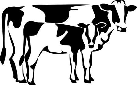 koe met kalf logo Stock Illustratie