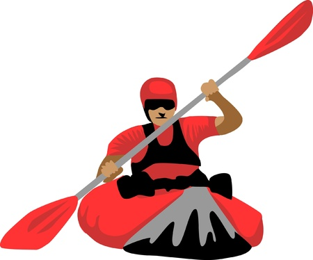 kayaking Ilustrace