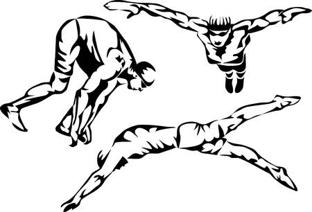 swim cap: swimmer logo