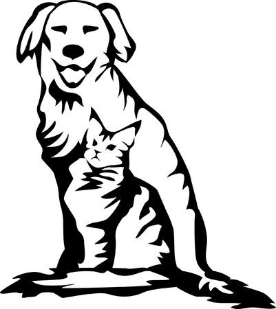 retriever with cat logo Stock Vector - 16953419