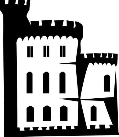fortification: castle logo Illustration
