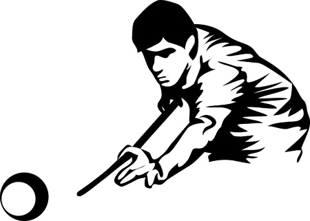snooker cue: billiards player Illustration
