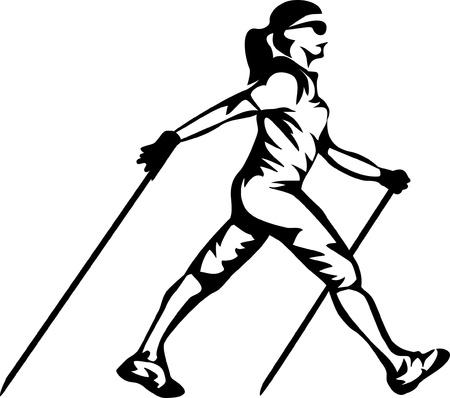 walking: woman nordic walking Illustration