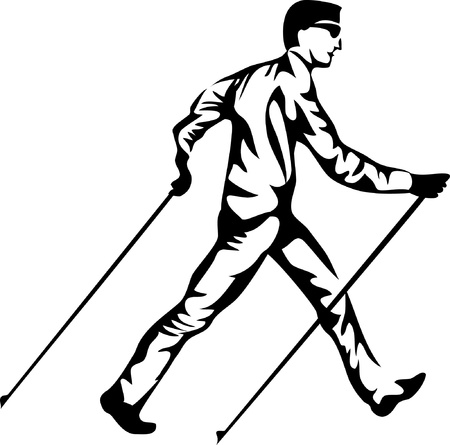 man nordic walking Vector