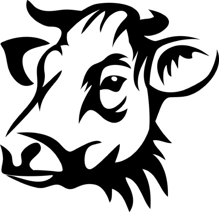 beef: head of horned cow Illustration