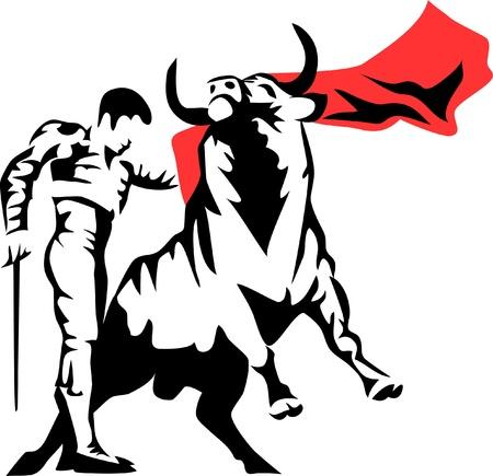matador: corrida de toros - stierenvechten Stock Illustratie