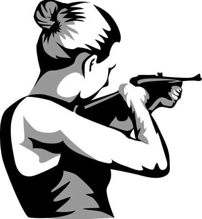 woman standing back with shotgun Illustration
