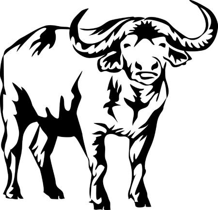 búfalo de agua Ilustración de vector
