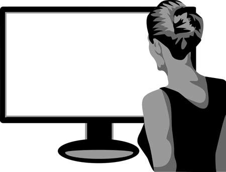 back woman in front of flat monitor Vector