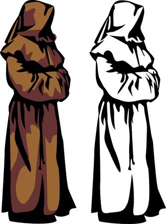 christian monk hooded Stock Vector - 17989907