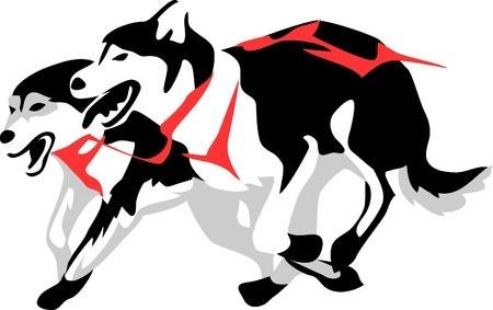 sledehonden lopen Stock Illustratie