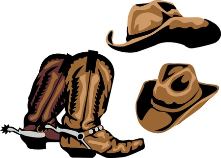 cowboy boots and hats Vector