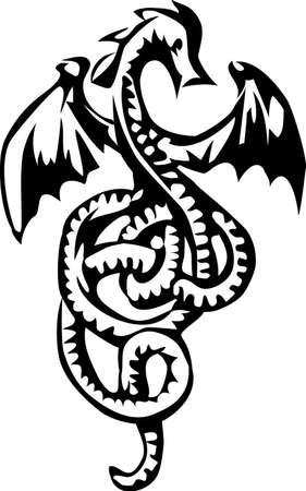 dragon with long tail tangled Stock Vector - 18226448
