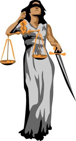 godin van rechtvaardigheid logo Stock Illustratie