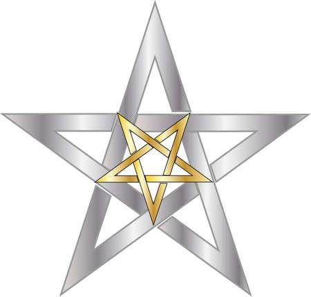 reversed gold pentagram inside silver pentagram Vector