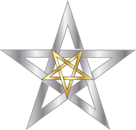pentagram: reversed gold pentagram inside silver pentagram Illustration