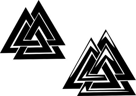 valknut - drie in elkaar grijpende driehoeken