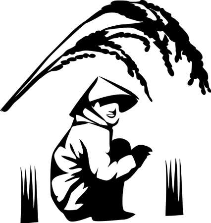 grain fields: rice grower logo
