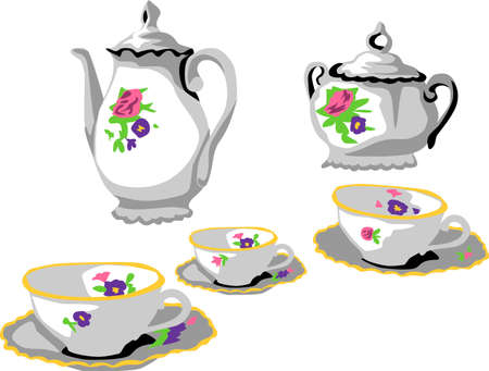tea set: tea set with floral ornament