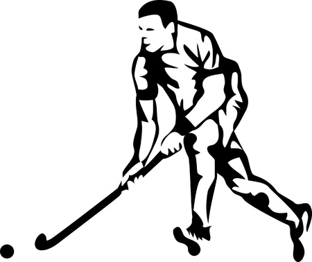 field hockey player logo Vector