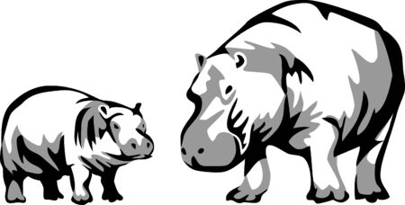 corpulent: hippo with young