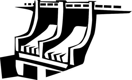 発電機: 水力発電所  イラスト・ベクター素材