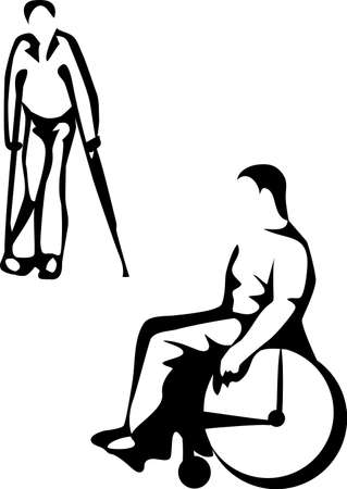 person in a wheelchair and a person with crutches Vector