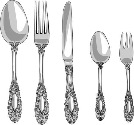 flatware: cutlery set Illustration