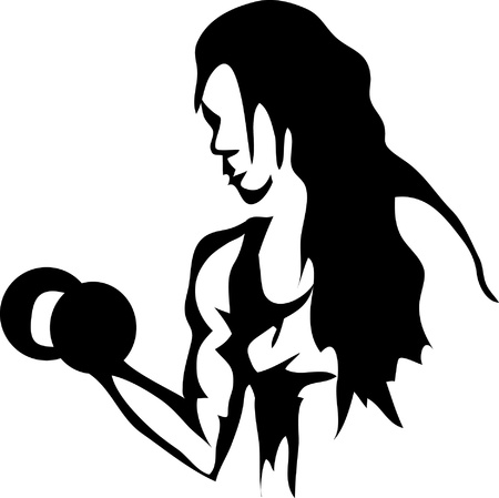 dumbell: donna con manubri Vettoriali